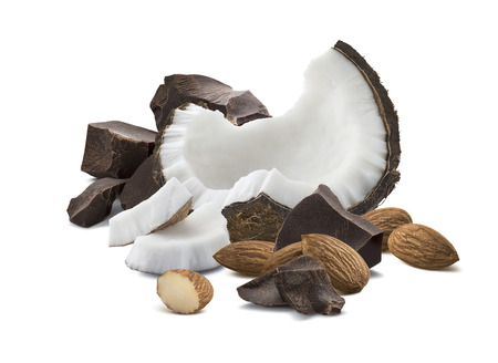 Chocolate coconut almond isolated on white background as package design element