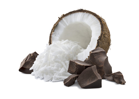 Coconut half, shredded pieces and broken chocolate pile isolated on white background as package design element