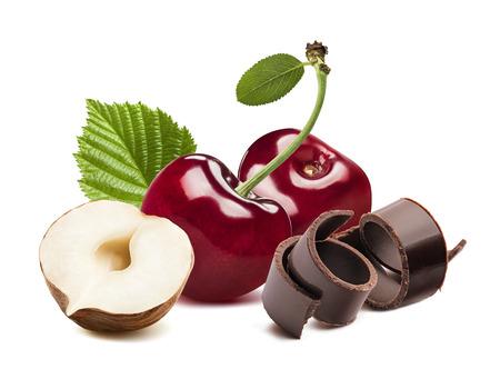 Kers, noot en chocolade die op witte achtergrond als element van het pakketontwerp wordt geïsoleerd