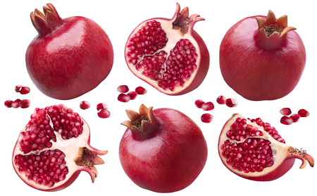 Pomegranate pieces set isolated on white background as package design elements Foto de archivo