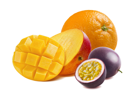Half cut mango, orange and passion fruit isolated on white background as package design element