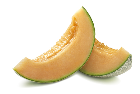 Cantaloupe melon slices isolated on white background as package design element