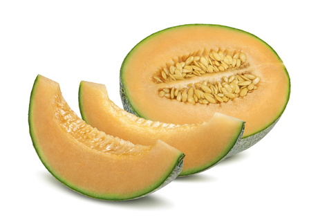 Cantaloupe melon and pieces horizontal isolated on white background as package design element 免版税图像