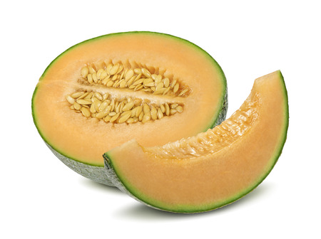 Cantaloupe melon half and pieces isolated on white background as package design element Foto de archivo
