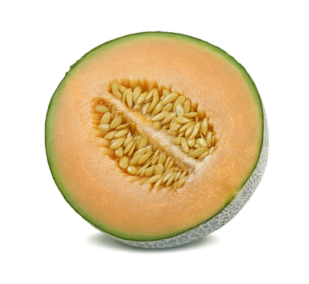 Cantaloupe melon half split isolated on white background