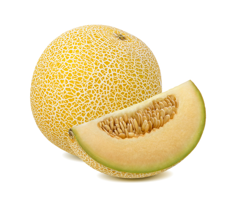 Yellow galia melon, whole and quarter piece, isolated on white background