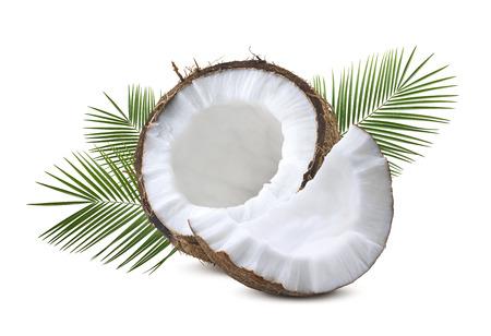 Media pieza de coco con hojas de palmera aisladas sobre fondo blanco