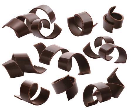 暗いチョコレート カール セット ホワイト バック グラウンドの分離 2