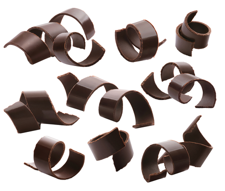 Dark chocolate curls set 2 isolated on white background 版權商用圖片