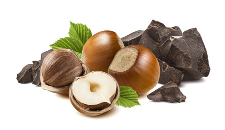 4 hazelnuts and broken dark chocolate isolated on white background as package design element