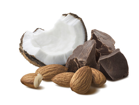 Coconut, chocolate pieces, almond nuts isolated on white background as package design element