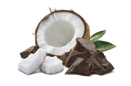Coconut half, chocolate pieces, green leaf isolated on white background as package design element