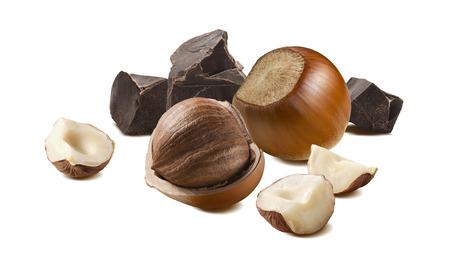 Hazelnut black craft chocolate isolated on white background as package design element Stok Fotoğraf