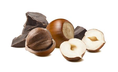 Hazelnut craft chocolate 2 isolated on white background