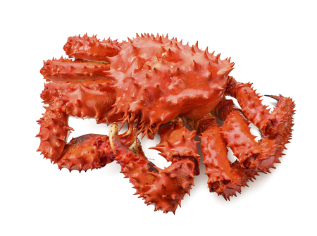 Whole red king crab isolated on white background as package design element 스톡 콘텐츠