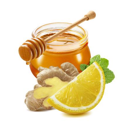 Honey, lemon, ginger, mint isolated on white background as package design element