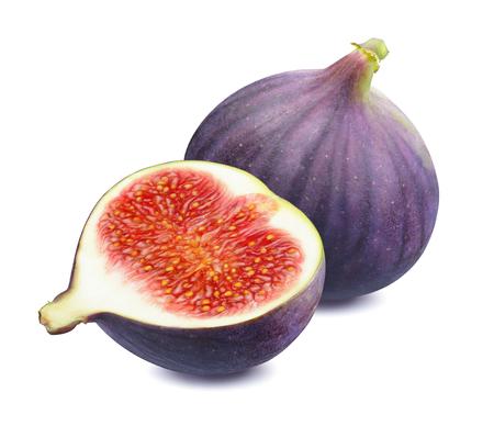Świeża figa cała i pół na białym tle jako element projektu opakowania package Zdjęcie Seryjne