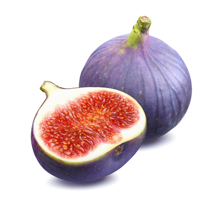 Fresh fig whole half 2 isolated on white background as package design element