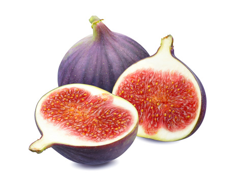 Fresh figs - whole and slices isolated on white background as package design element Imagens