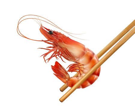 Red prawn or tiger shrimp with chop sticks isolated on white background