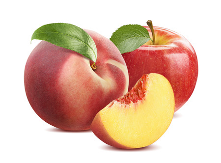 Peach and apple composition isolated on white background as package design element Banco de Imagens