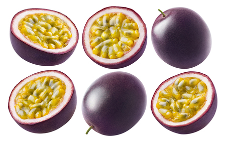 Passion fruit set isolated on white background as package design element Foto de archivo