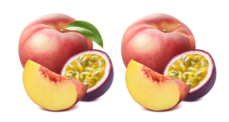 Peach with green leaf and passion fruit isolated on white background as package design element