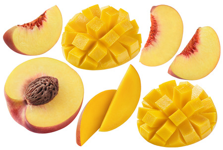 Peach mango set isolated on white background as package design elements Foto de archivo