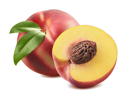 Whole peach and half cut isolated on white background as package design element Stockfoto