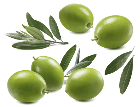 Green olives leaves set isolated on white background as package design element