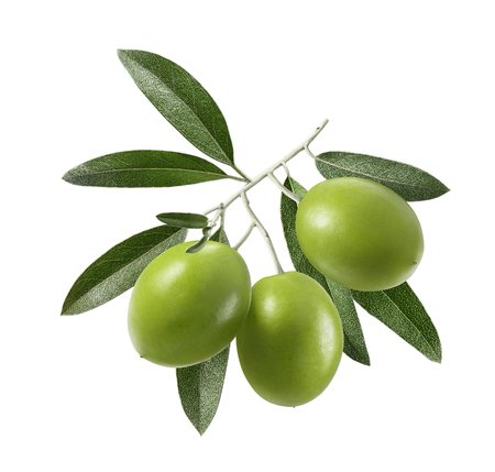 Green olives with leaves square composition isolated on white background as package design element Stock Photo