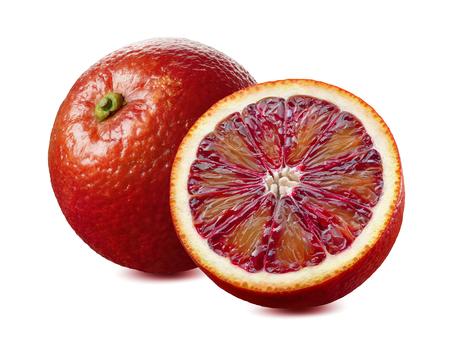 パッケージデザイン要素として白い背景に半分の赤い血液オレンジと半分分離 写真素材 - 93487295