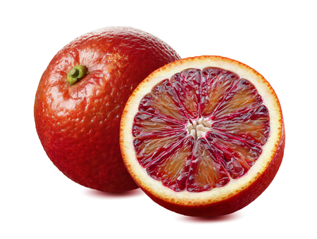 Whole red blood orange and half isolated on white background as package design element