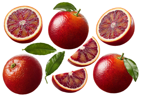 Red blood orange slices set 1 isolated on white background as package design elements