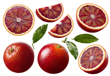 Red blood orange fruit slices set isolated on white background as package design elements Foto de archivo