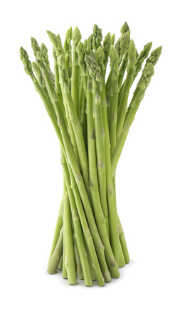 Fresh asparagus bunch isolated on white background as package design element