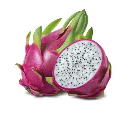 드래곤 과일 또는 pitaya 패키지 디자인 요소로 흰색 배경에 고립