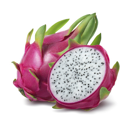 Dragon fruit or pitahaya isolated on white background as package design element Banco de Imagens
