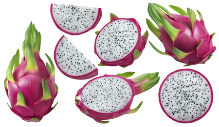 Dragon fruit or pitaya pieces set isolated on white background as package design element