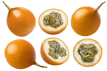 Yellow passion fruit or granadilla collection isolated on white background as package design element