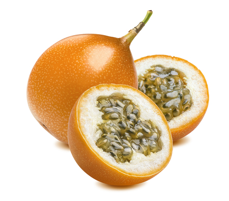 Granadilla or yellow passion fruit pieces isolated on white background as package design element