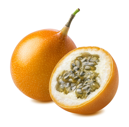 Granadilla. Whole yellow passion fruit and half isolated on white background