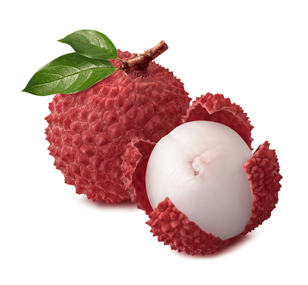 Whole and open lychee isolated on white background for package design Banque d'images
