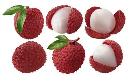 Fresh lychee with leaves set isolated on white background as package design elements