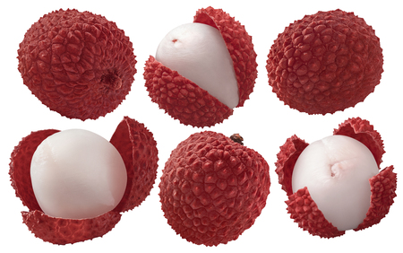 Fresh lychee set isolated on white background as package design elements 스톡 콘텐츠