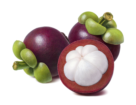 Tropical mangosteen isolated on white background. Whole fruit and half for package design.