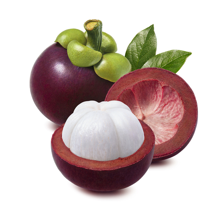 Mangosteen. Whole, half and empty rind isolated on white background for package design