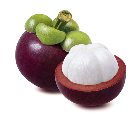 Whole mangosteen and piece cut in half isolated on white background with clipping path