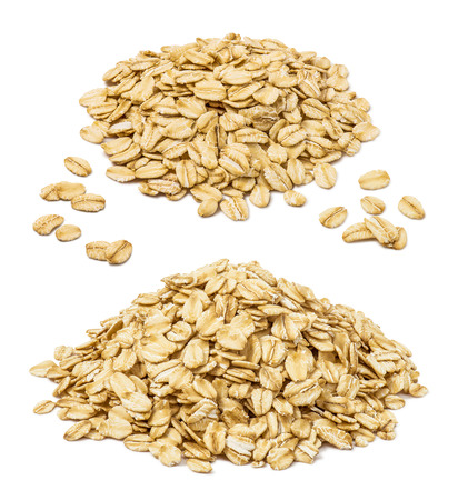 Rooled oat flakes pile set isolated on white background. Oatmeal elements for package design