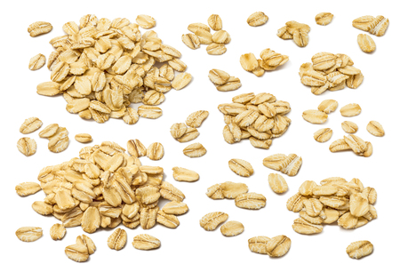 Oatmeal flakes set isolated on white background. For rolled oats product package design Standard-Bild